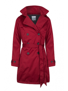 Dames-regentrenchcoat-Happy-Rainy-Days-satin-padded-deep-red-voorkant