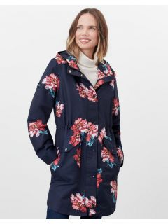 regenjas-dames-joules-loxley-bloemen-blauw-model