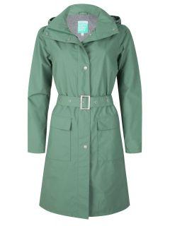 Trenchcoat-Lang-Dames-Groen-gaby-voor