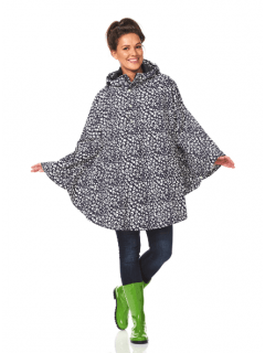 Dames-regenponcho-Happy-Rainy-Days-bikecape-Bernice-black-offwhite-voorkant