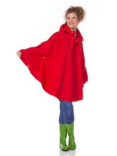 Dames-regenponcho-Happy-Rainy-Days-cape-Rosa-rood-voorkant