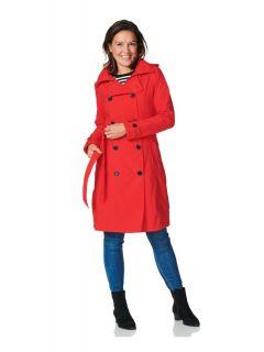 Trenchcoat-Met-Rits-Dames-Rood-Rosa-model